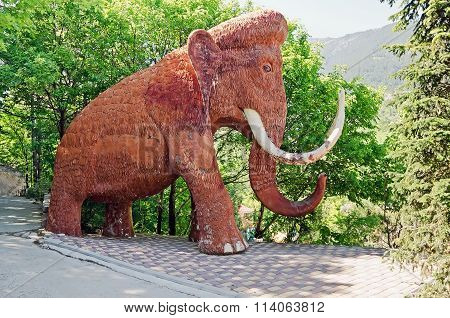 Sculpture Of A Mammoth In Yalta Zoo