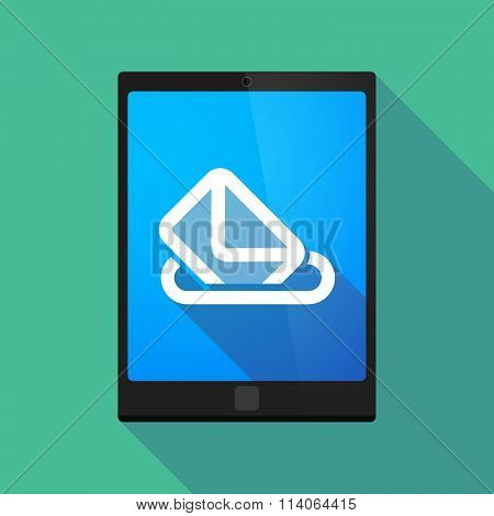Long Shadow Tablet Pc Icon With  A Ballot Box
