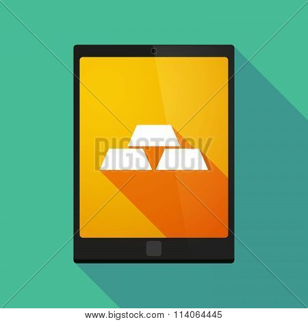Long Shadow Tablet Pc Icon With Three Gold Bullions