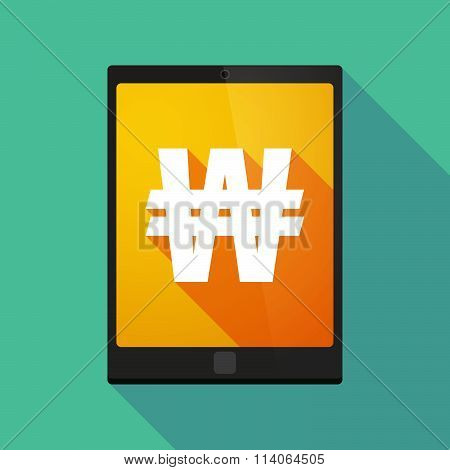 Long Shadow Tablet Pc Icon With A Won Currency Sign
