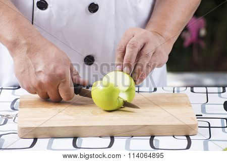 Cutting Green Apple