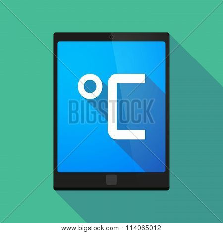 Long Shadow Tablet Pc Icon With  A Celsius Degree Sign