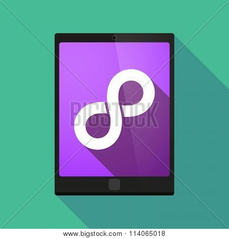 Long Shadow Tablet Pc Icon With An Infinite Sign