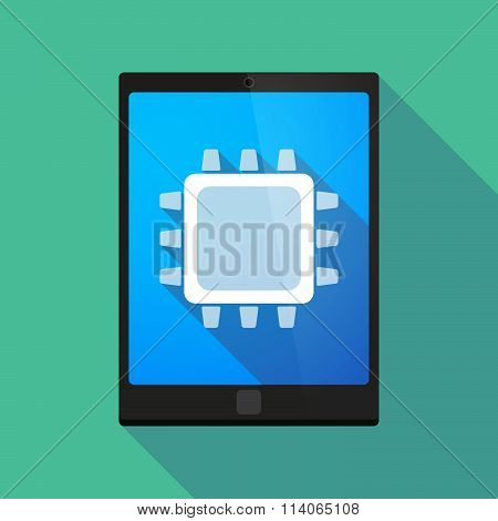 Long Shadow Tablet Pc Icon With A Cpu