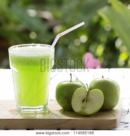 Glass Of Green Apple Smoothie