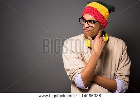 Hipster brazilian man in studio