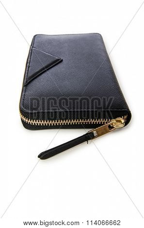 Black wallet isolated on the white