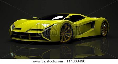 Big shiny sports car premium. Conceptual design. A prototype of fast transport of the future. Advanc