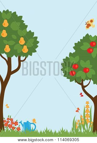 Trees And Flower In The Garden