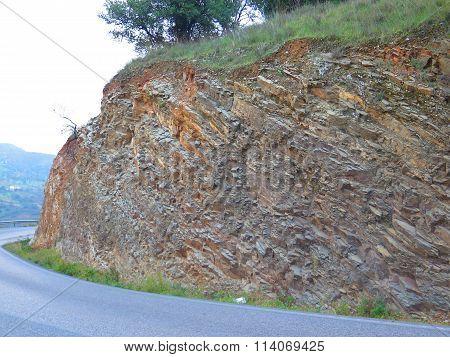 Rock Strata In Road Cutting