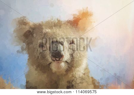 Artistic Portrait Of Koala Looking Through Stained Dirty Glass