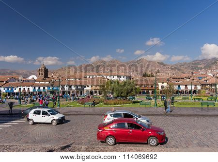 Ordinary Life On Main Square In Cusco, Peru
