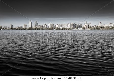 Obolon Skyline Close To The Dnieper River In Kiev