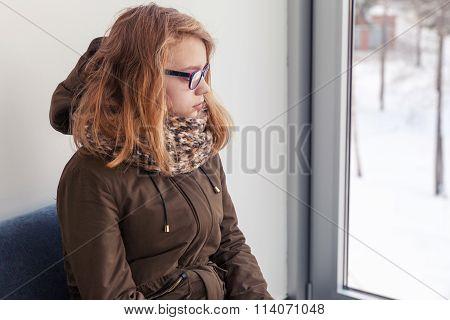 Beautiful Blond Caucasian Teenage Girl In Glasses