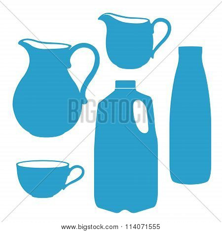 Milk bottle, pitcher, jug, canister.
