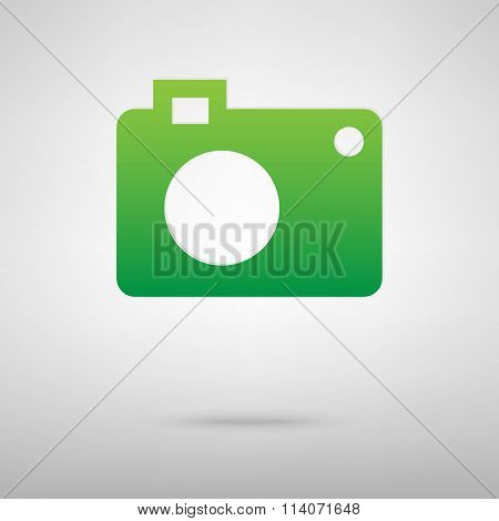 Camera. Green icon with shadow