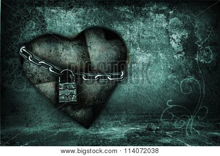 blue Valentine card with iron heart