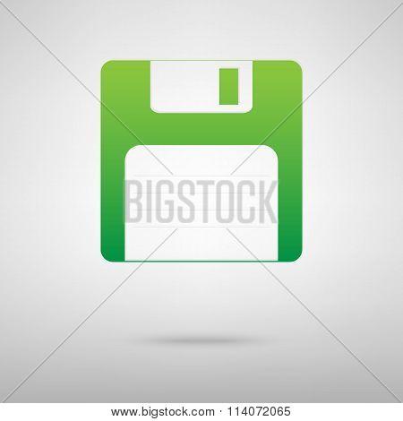 Floppy disk. Green icon
