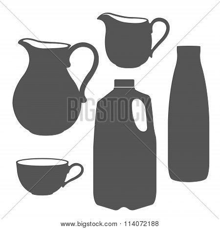 Milk bottle, pitcher, jug, canister.