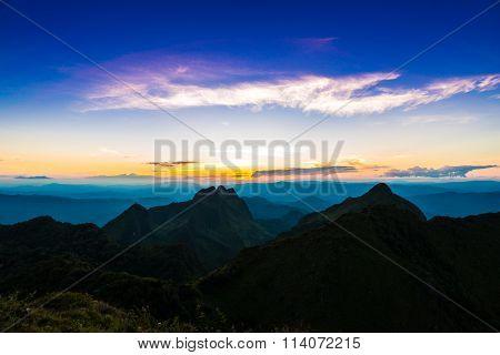 Sun Set Over Sub Alpine Hills