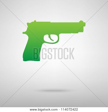 Gun symbol. Green icon