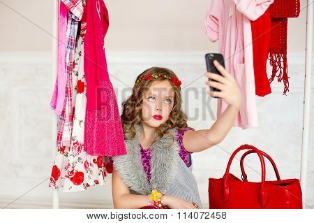 The Girl Tries On Clothes