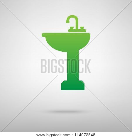 Bathroom sink. Green icon