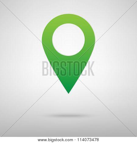 Mark icon, pointer. Green icon