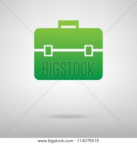 Riefcase sign. Green icon