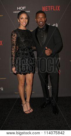 BEVERLY HILLS, CA - JAN. 10: Corinne Foxx & Jamie Foxx arrive at the Weinstein Company & Netflix 2016 Golden Globes After Party on Sunday on Jan. 10, 2016, Beverly Hilton Hotel in Beverly Hills, CA.