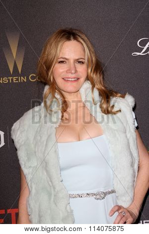 BEVERLY HILLS - JAN. 10: Jennifer Jason Leigh arrives at the Weinstein Company and Netflix 2016 Golden Globes After Party, Sunday, January 10, 2016 at the Beverly Hilton Hotel in Beverly Hills, CA.