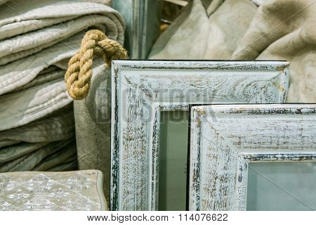 Gray wooden photo frames