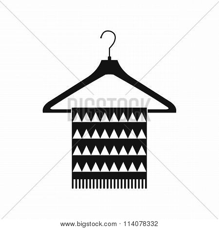 Scarf on coat-hanger black simple icon