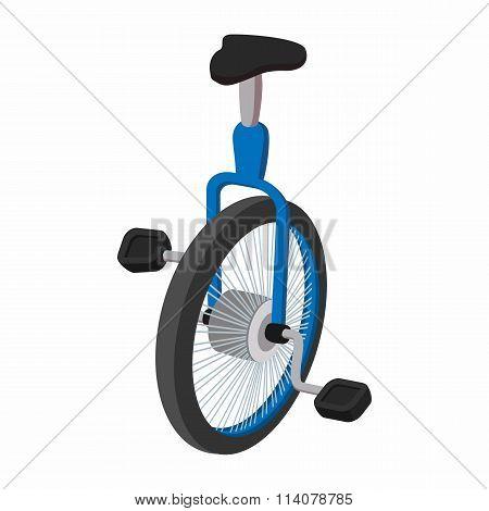 Unicycle, one wheel bicycle cartoon