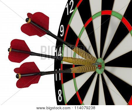 The game of darts. Hit the bull's eye