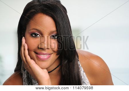Portrait of beautiful African American businesswoman smiling inside office building