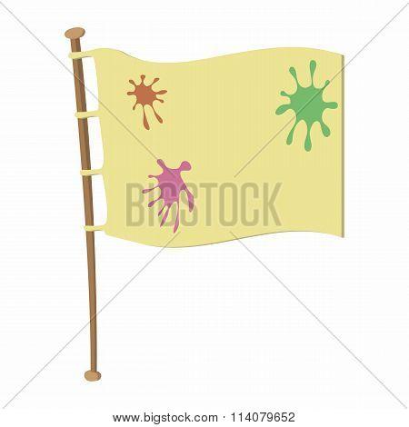 Team flag on wooden flagpole