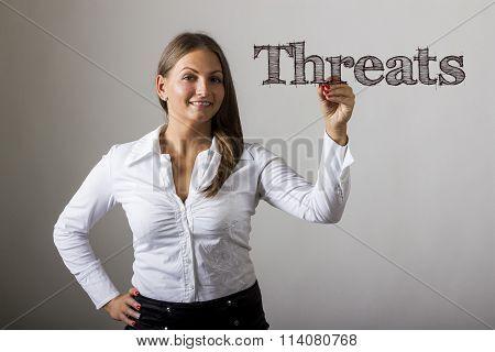 Threats - Beautiful Girl Writing On Transparent Surface