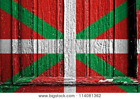 Flag Of Basque Country Painted On Wooden Frame
