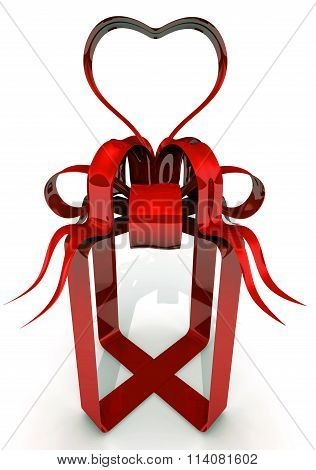 Red tape in the form of gift box with a heart symbol