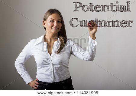 Potential Customer - Beautiful Girl Writing On Transparent Surface