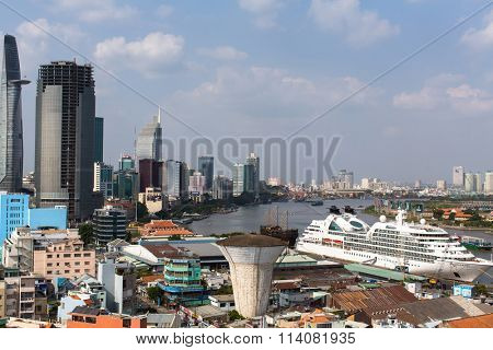 HO CHI MINH, VIETNAM - JAN 10, 2016: Top view of Ho Chi Minh City (Saigon). Is located in the South of Vietnam, is the country's largest city, population 8 million.