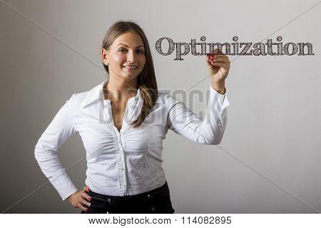 Optimization - Beautiful Girl Writing On Transparent Surface