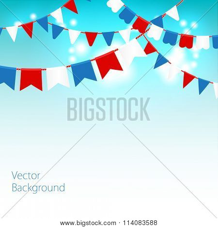 Vector illustration of Blue sky with colorful flags garlands. Holiday background with place for text.