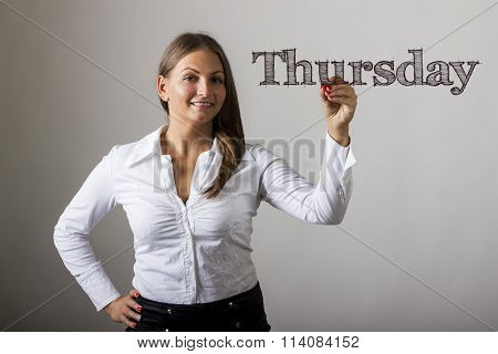 Thursday - Beautiful Girl Writing On Transparent Surface