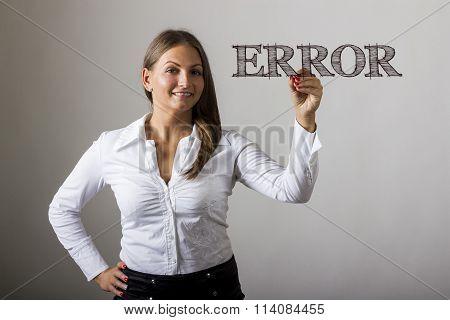 Error - Beautiful Girl Writing On Transparent Surface