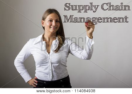 Supply Chain Management Scm - Beautiful Girl Writing On Transparent Surface
