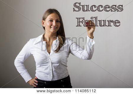 Success Or Failure - Beautiful Girl Writing On Transparent Surface