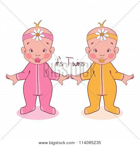 Vector illustration of little kids in suits, it's twins, girls.