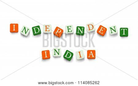 Independent India with colorful blocks